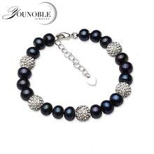 цена Real Freshwater Black Pearl Bracelet Women,Classic Natural Pearl Bracelet Girl Birthday Gift