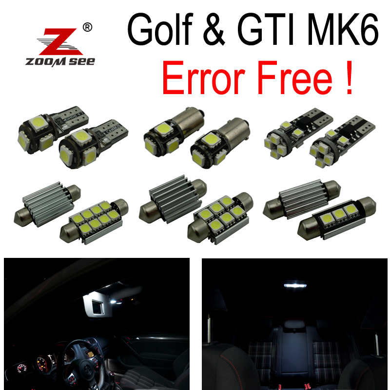 16pcs 100% canbus LED parking city bulb + Interior dome map Light Kit for VW GTI Golf6 GOLF MK6 MK 6 VI MKVI  (2010-2014)