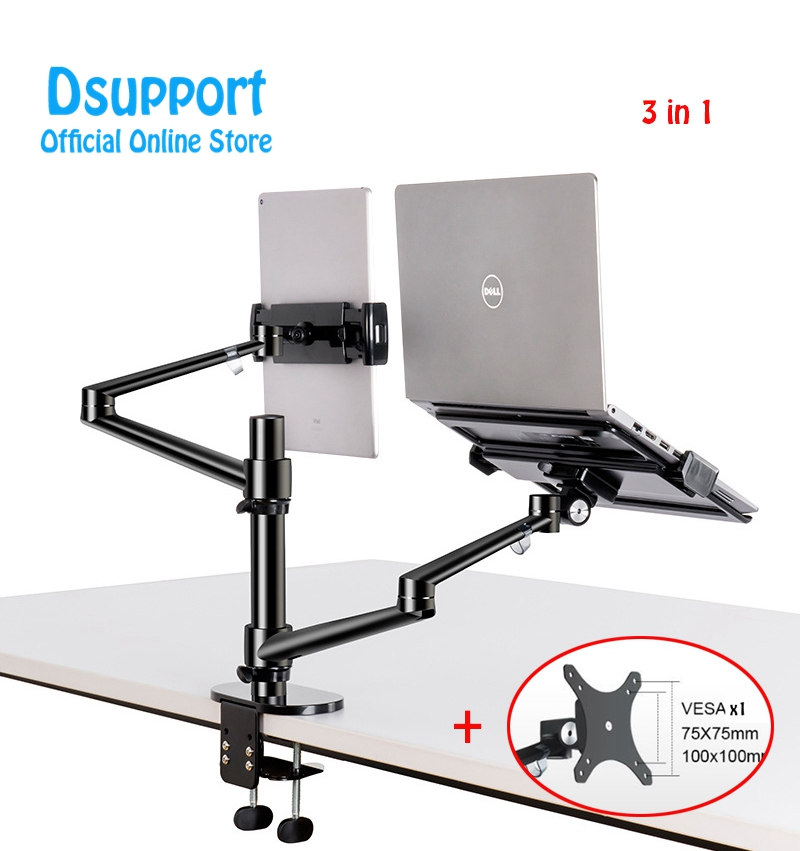 Aluminum Height Adjustable Desktop Dual Arm 17 32 inch Monitor Holder 10 17 inch Laptop Stand