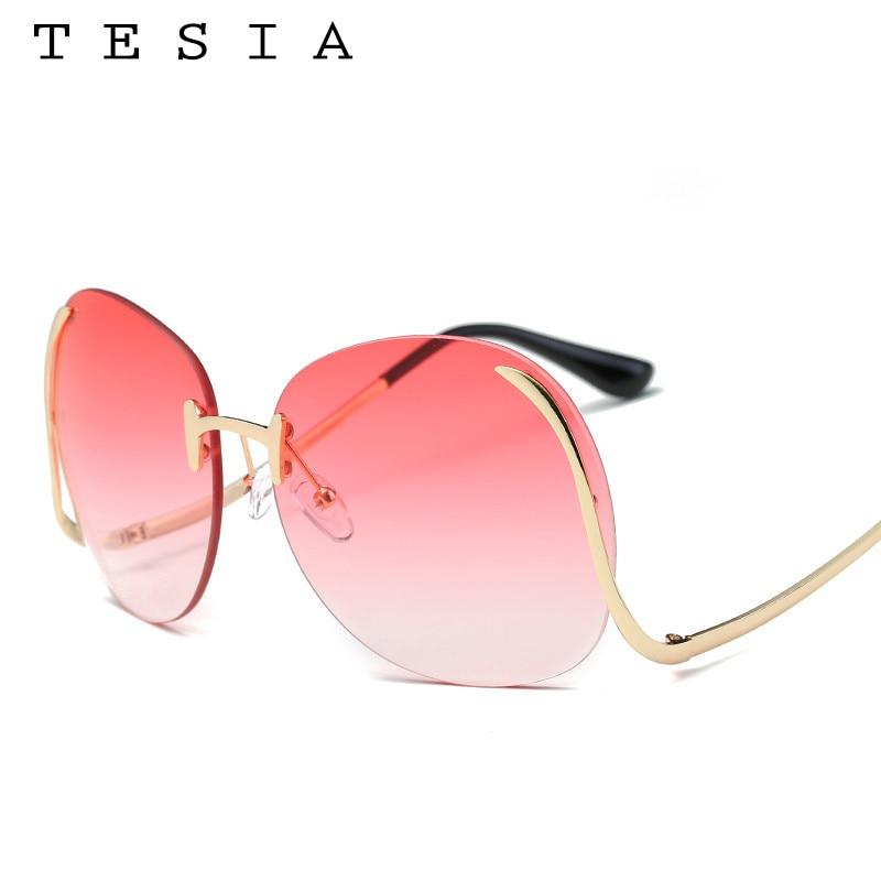 2017 TESIA Kacamata Fashion Wanita Oversize Sunglasses Mental Bingkai - Aksesori pakaian - Foto 4