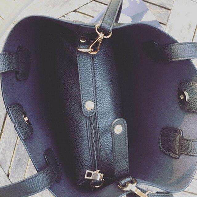 Fashion Soft PU Leather Women Handbag Two Pieces Female Shoulder Bag Girls Messenger bag Casual lady date Burgundy/Black Bag 3