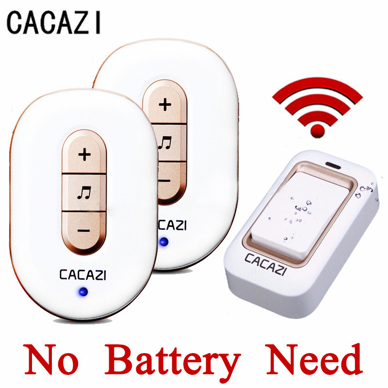 CACAZI New No Need Battery Led Light Doorbell Wireless Waterproof 220V Kinetic Electronic Door Bell With Push Button + 2Receiver 2receiver page 6