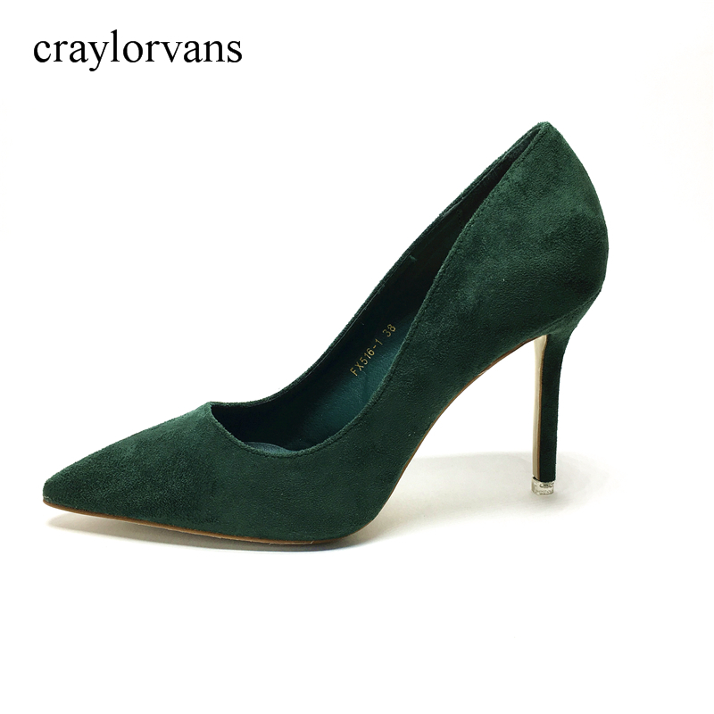 2017 Faux Suede Shoes Women Party Pumps Elastic Band Pointed Toe Thin Med Heels Pumps Spring Summer Ladies Green Shoes krazing pot sheep suede summer elastic band thin med heels beading pointed toe slip on women sexy office lady pumps shoes l96