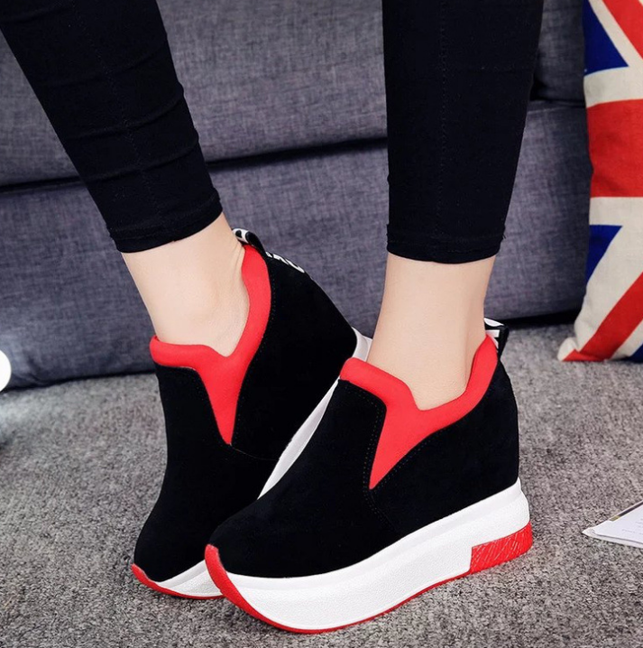 XEK 2018 Women Increased Shoes Women Fashion Platform Loafers Printed Casual Shoes Woman Wedges Shoes Breathable ZLL300 2