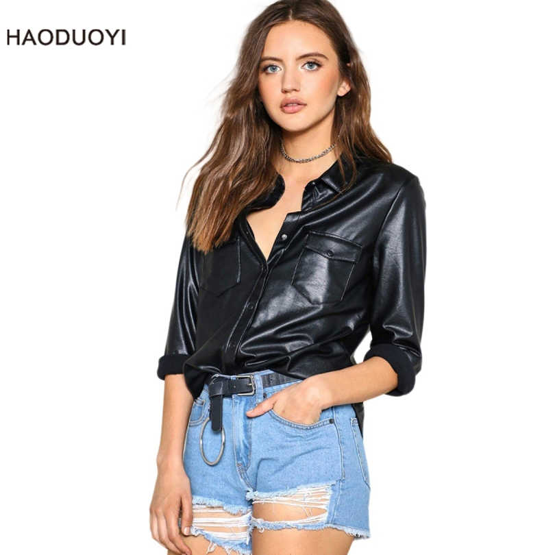 2019 New Fashion Single-breasted PU Black Leather Shirt Women Long Sleeve Faux Leather Tops Casual Ladies OL Office Work blouses