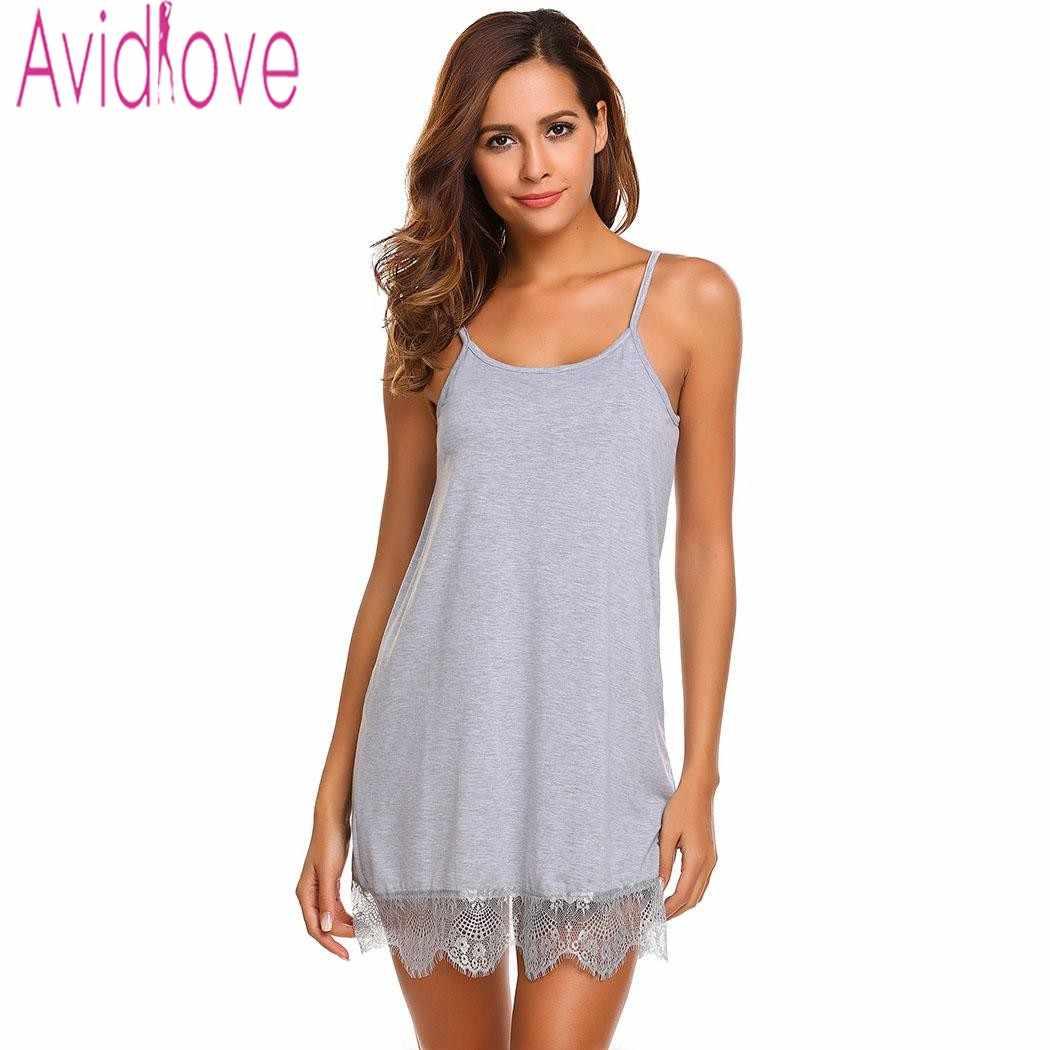 115ec0985f8f Avidlove простая хлопковая Ночная рубашка пижамы платье домашняя пижама без  рукавов ...