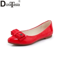 DoraTasia New Women S Patent Leather Flat Solid Shallow Bowtie Shoes Woman Casual Comfortable Sweet Flats