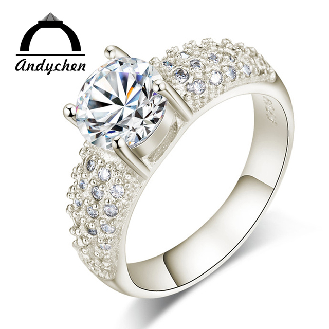 AndyChen Silver Color Bague Fashion Bijoux Femme Crystal Jewelry Accessories Eng