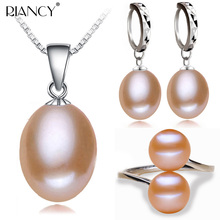 100% real freshwater pearl jewelry sets women,natural 925 silver pendant ring earring party top quality