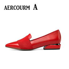 Aercourm A 2017 Women Genuine Leather Shoes Low High Heel Women Shoes Heel Black Shoes Office Lady Sexy Party Shoes 35-40 H838