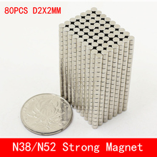 80pcs/lot Super Strong Rare Earth mini 2mm x Permanet Magnet Round Neodymium N52 N38 2*2MM surface plate nickel