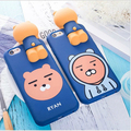 Korea 3D Papa Bear kakao rabbit peach cute cartoon soft silicone Phone Case For iphone 6 6S 7 Plus with lanyard Cover