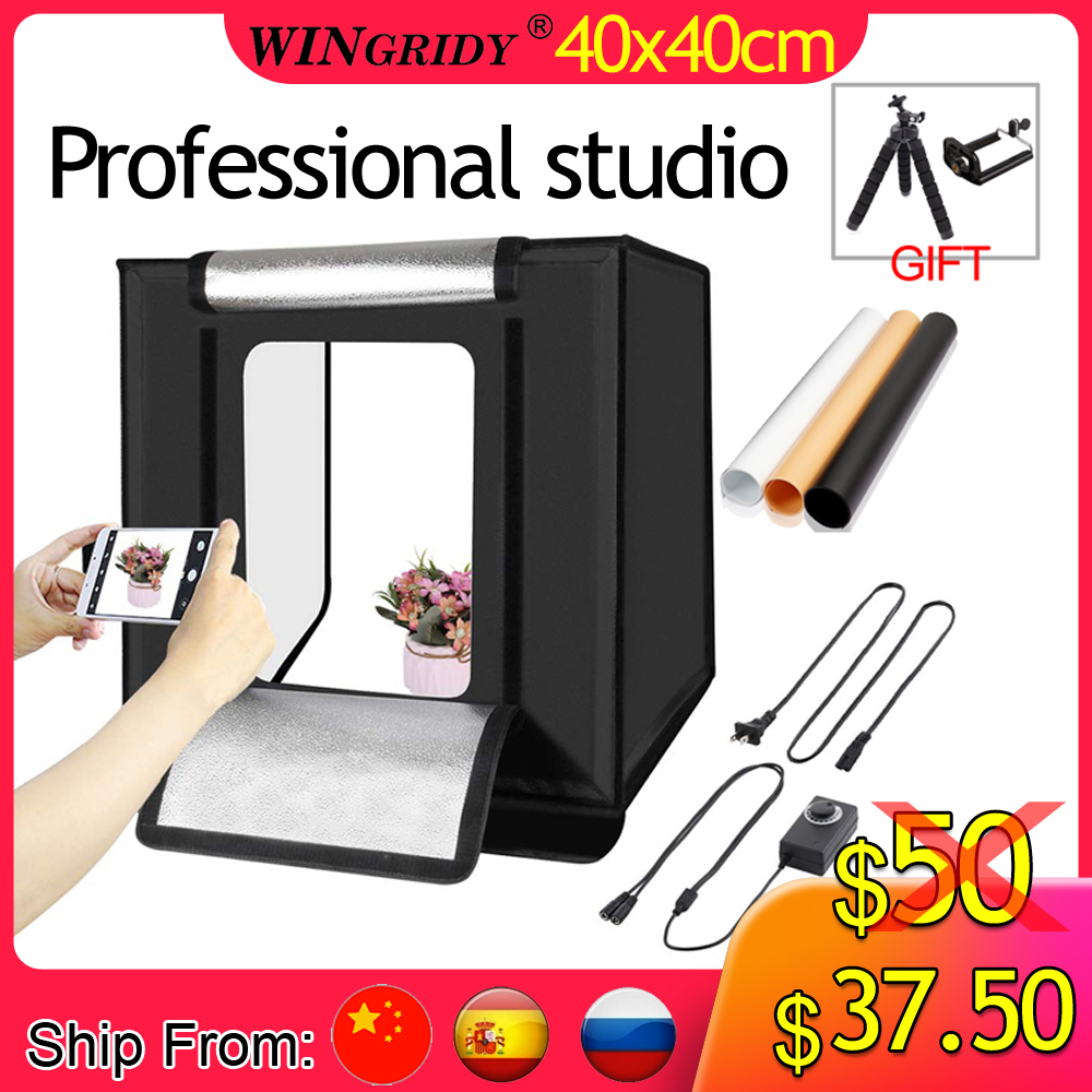WINGRIDY W40 LED Folding Photo Studio Softbox Lightbox 40 40 light Tent with white yellow black