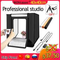 WINGRIDY W40 LED Folding Photo Studio Softbox Lightbox 40*40 light Tent with white yellow black background Accessories box light