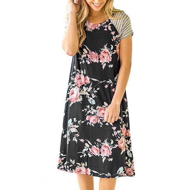 ELSVIOS Summer Floral Printed Loose A-Line Dress Women O Neck Short Sleeve Patchwork Dresses Casual Sundress Female Vestidos 4