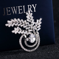SexeMara Leaves Rotate Shape Luxury Jewelry Brooch For Women Men Shirt Silver Lapel Pins Zircon Couple Models Brooches Jewelry