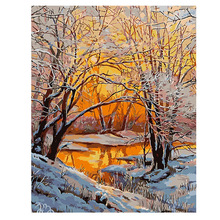 RIHE Sunset Forest Diy Painting By Numbers Winter Trees Oil On Canvas Hand Painted Cuadros Decoracion Acrylic Paint Art