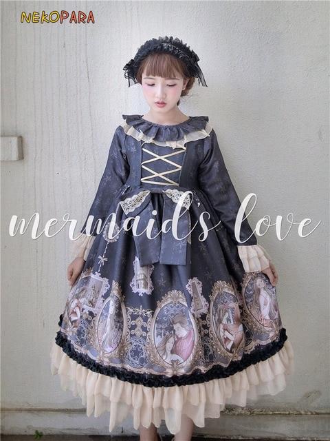 53d597413 Original Mermaid s Love Cute Women s Lolita OP Long Sleeve Dress ...