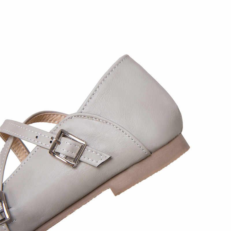 Odetina 2019 Moda Mary Janes Kadınlar Için Flats Toka Askı Tatlı Ayakkabı Bayanlar Rahat Yuvarlak Ayak Bale düz ayakkabı Artı Boyutu 43