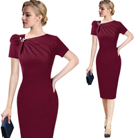 2018 Elegant Office Lady Dress Size S M L XL 2xl 3xl Empire Knee New Black Blue Red Pencil Dresses for Spring Autumn Winter 14A4
