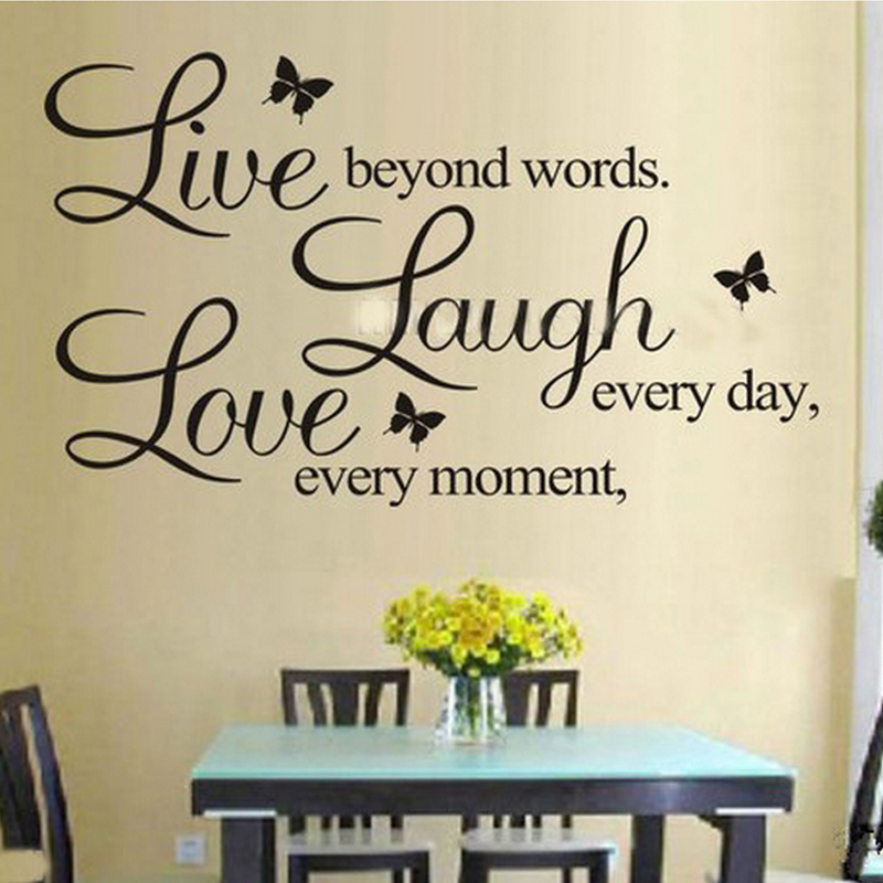 PVC Home Decor Wall Stickers Live Love Laugh Letters Transprent Simple Live Love Laugh Quote