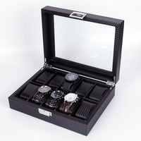 Luxury Watch Storage Box PU Leather Jewelry Box Modern Vogue Watch Display Storage Box Black Portable Transparent Glass Suitcase
