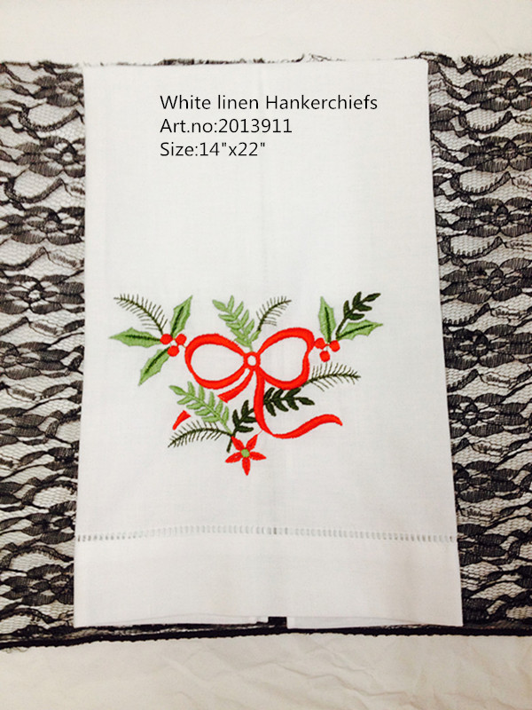 """Novelty &Holiday Handkerchiefs 12PCS/lot 14x22""""White Linen Embroidered floral Handkerchiefs Unisex Hankies For Special Occasions"""