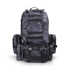 Paquete ejército mochila de doble hombro Mujeres masculinas 50l combinación táctica paquete de viaje de viaje grande grande mochila de caza