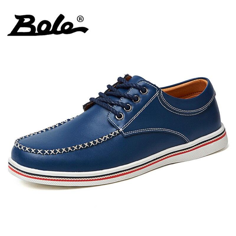 Боле Для мужчин повседневная обувь Весна-осень Новый Кружево до ручной работы кожа Мужские туфли для вождения обувь на плоской подошве Для мужчин модные кроссовки большой Размеры 39-47