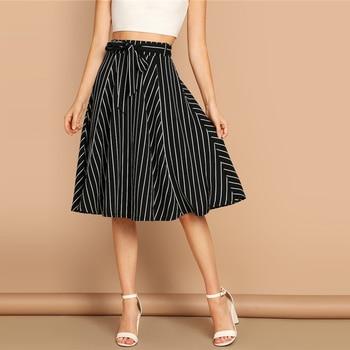 Falda midi boho rayas cintura alta primavera