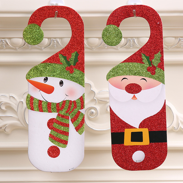20pcs new christmas cartoon door hanging with 2 styles snowman old man door hanging christmas decorations