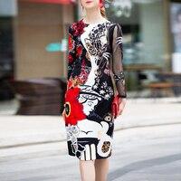 High quality 2019 designer runway dress Women's Long Sleeve Grid Patchwork Applique Print Vintage Sequins Slim Midi Party Dress