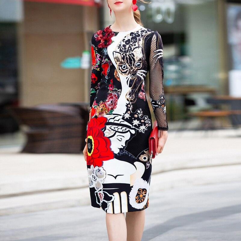 Hoge kwaliteit 2019 designer runway vrouwen jurk Lange Mouwen Grid Patchwork Applique Print Vintage Pailletten Slim Midi Party Dress-in Jurken van Dames Kleding op  Groep 1