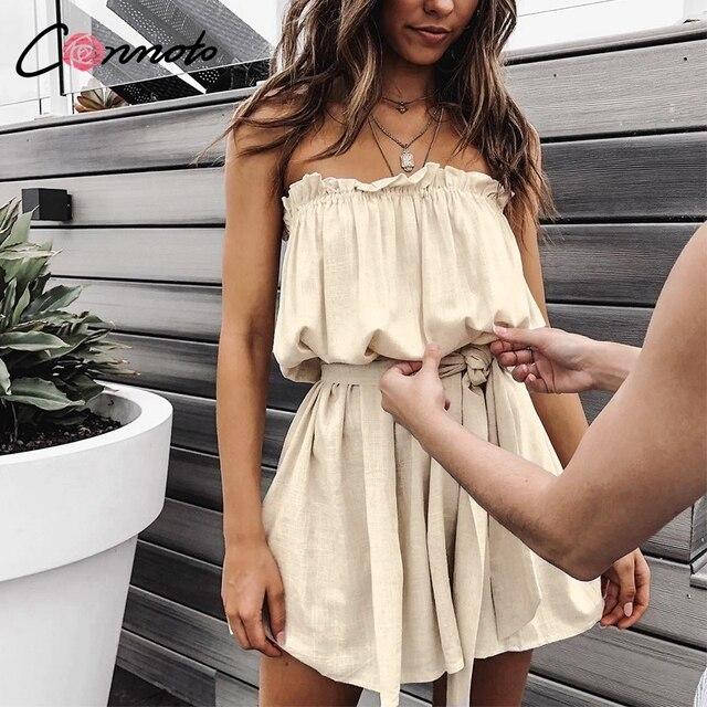 Conmoto Solid Elegant Short Ruffles Women Dress Solid Bow Tie Cotton Dresses Party Casual Beach Sexy Dress Vestidos