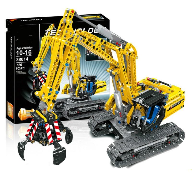 720 pièces Compatible Legoing technique modèle de blocs de construction de briques d'excavatrice sans moteurs mis ville jouets pour enfants