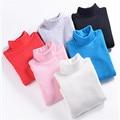 Child thermal underwear 100% cotton basic shirt winter turtleneck female male child plus velvet baby top black white