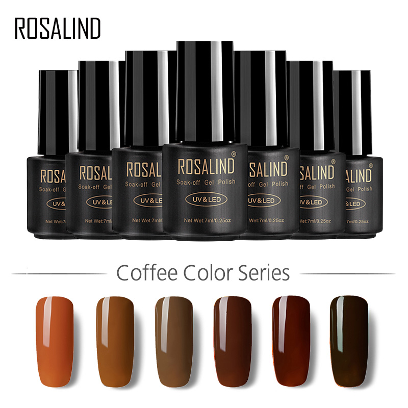 ROSALIND Gel 1S 7ml Brown Color Series Nail Gel Polish UV/LED Lamp Coffee Color Long-lasting Top Base Coat Gel Varnish Lacquer