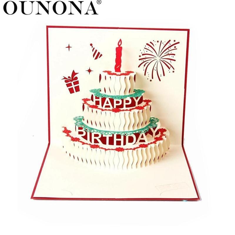 3 डी पॉप अप जन्मदिन कार्ड रचनात्मक जन्मदिन ग्रीटिंग कार्ड (लाल)