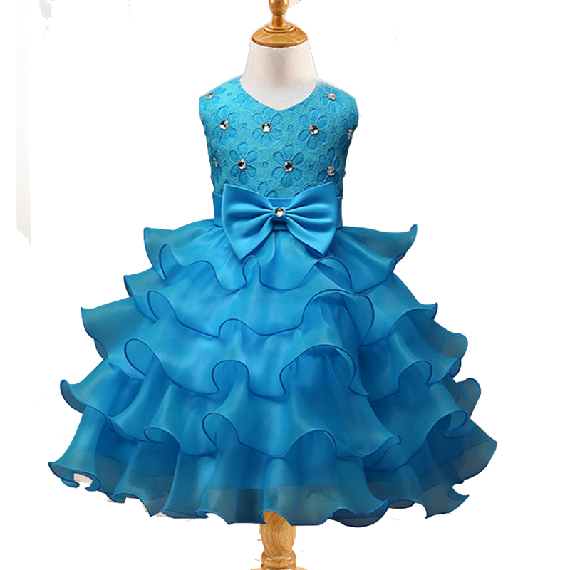 Kids Girls Flower Children Party Birthday Layered Dresses Clothing For Girls Baby Dance Clothes Tutu Ball Gown Princess Dress 42 ladybird appliques dress wholesale clothing for girls princess baby boutique o neck clothes children polka dot dresses 6pcs lot