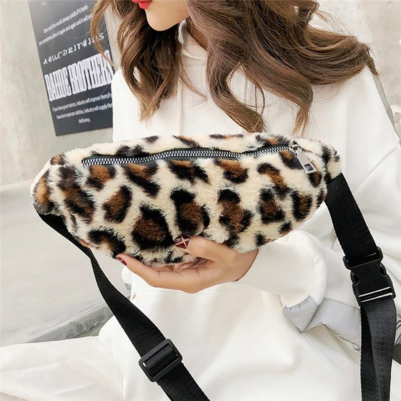 2018 Mode Frau Taille Tasche Breit Schulter Gurt Brust Tasche Tasche Leopard Drucken Taschen Leopard Schulter Tasche A30 GläNzende OberfläChe