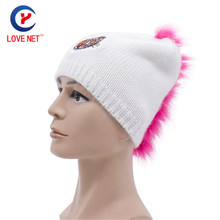 2017 New Autumn Winter Hats Tiger cartoon pattern Caps women hat with pink blue fur Knitted Casual beanies hat DS20170106 x6