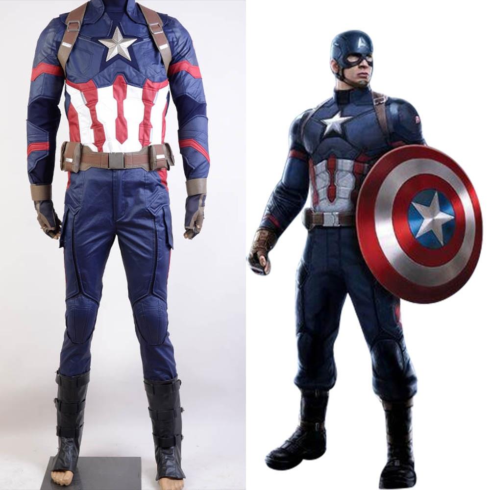 Avengers Hot Movie Captain America 3 Civil War Steve Rogers Uniform Full Set Halloween Party Cosplay Costume For Adult Men