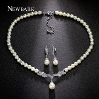White Gold Plated Imitation Pearl Strand Earrings And Necklace Elegant Wedding Set JingJing GS005D