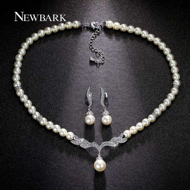 NEWBARK Wedding Jewelry Sets Simulated Pearl Jewelry White And Rose