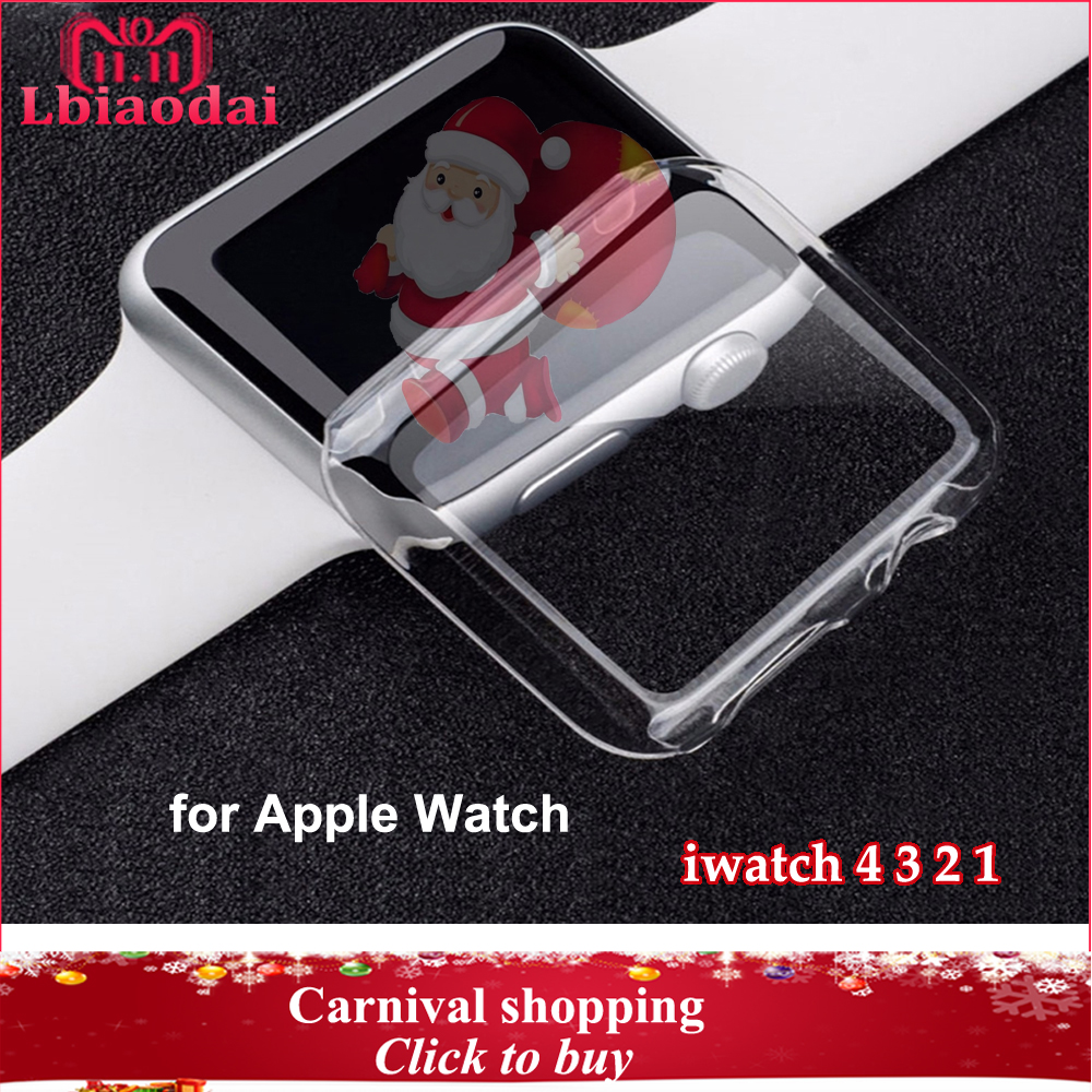 Silicone Soft Protector case cover for apple watch band 42mm 38mm 44mm 40mm Ultra-thin Clear shell for iwatch 4/3/2/1 Watch case bumvor for apple watch 3 2 1 screen protector tpu all around protective case clear ultra thin cover for apple watch 42mm 38mm