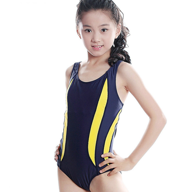 aac85702d1 Navy Blue + Black Brand Swimming Suit For Girls Sexy Female Mermaid Swimsuit  Professional Sports Swimwear 10-18Year