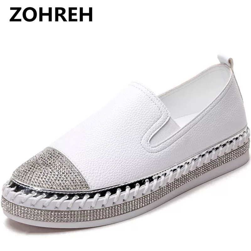 ZOHREH 2018 Korean fashion rhinestone leather white shoes spring new thick sole shoes comfortable pedal leather flat shoes
