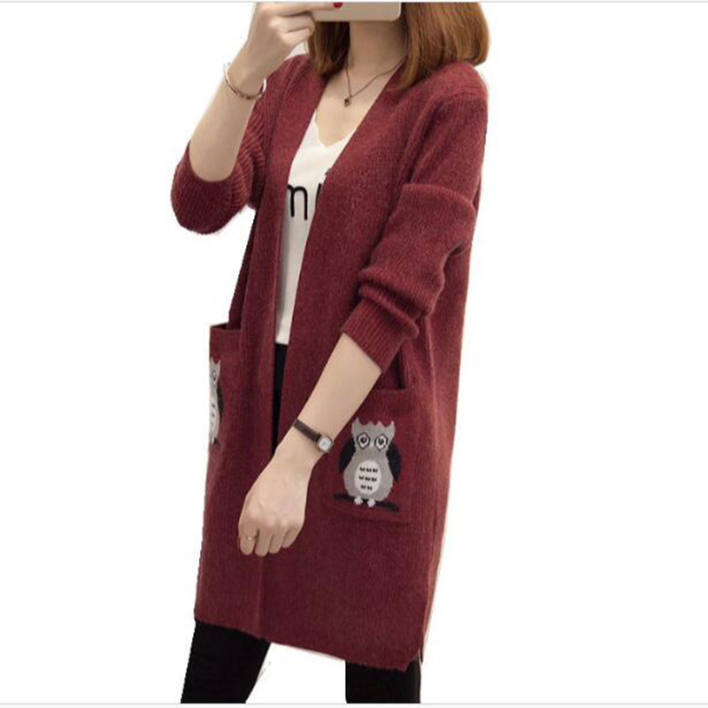 Cardigans Sweater Loose Long Knitted Elegant Autumn Winter Korean Plus-Size Fashion And