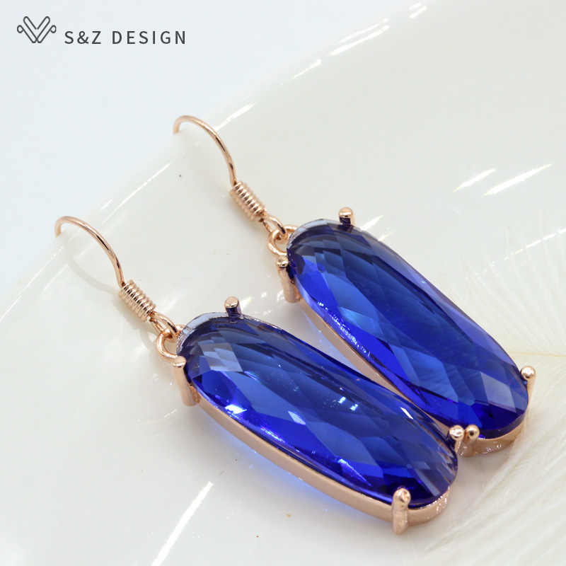S&Z 2019 Pink Blue Large Crystal Zircon Long Earrings Luxury Wedding Jewelry Valentines Gifts for Women