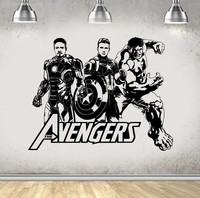 New arrival Design Avengers Hulk Iron Man Wall Stickers Home Decor Living Room baby Wall Decals Teens Boys Bedroom Wallpaper